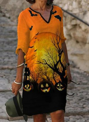 Halloween Animal Tunic V-Neckline Shift Dress (128228150)
