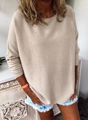 Round Neckline Solid Casual Loose Regular Shift Sweaters (112236780)
