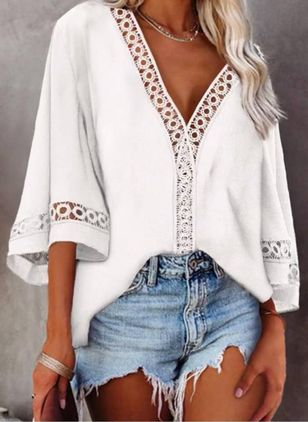 Solid Casual V-Neckline 3/4 Sleeves Blouses (148011953)