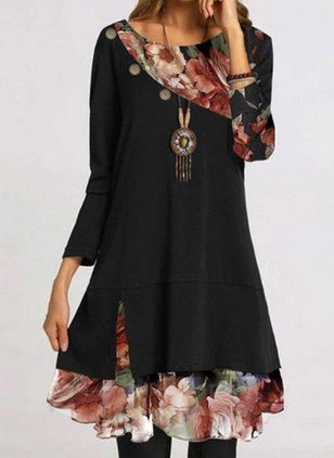 Casual Floral Round Neckline Knee-Length Shift Dress
