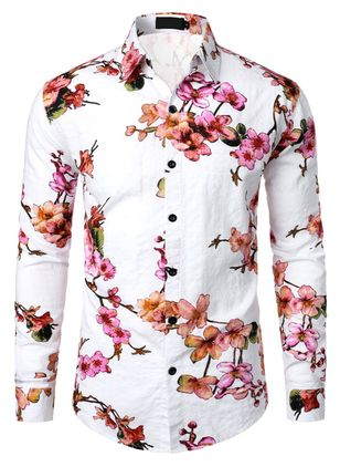Floral Collar Casual X-line T-shirts Long Sleeve Shirt (146901089)