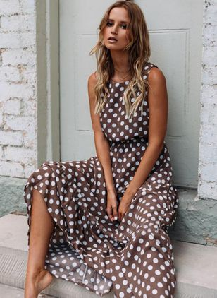 Polka Dot Round Neckline Sleeveless Maxi X-line Dress