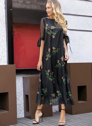 Floral Half Sleeve Maxi Shift Dress