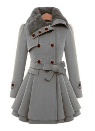 Long Sleeve Collar Sashes Buttons Coats (118207768)