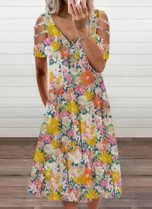 Casual Floral V-Neckline Midi A-line Dress (148012705)