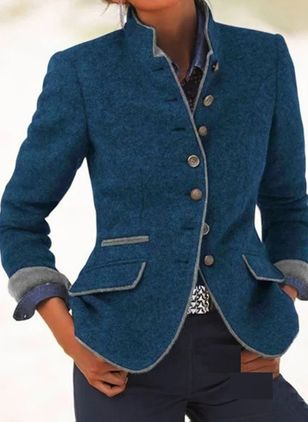 Long Sleeve High Neckline Buttons Pockets Blazers Coats