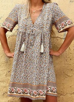Casual Floral Tunic V-Neckline Shift Dress (4356215)