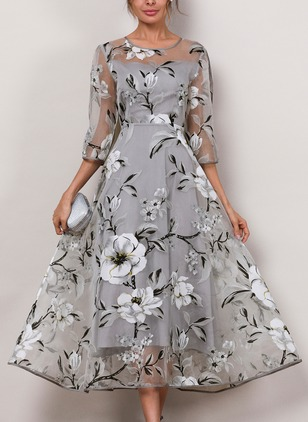 Floral Round Neckline 3/4 Sleeves Midi A-line Dress