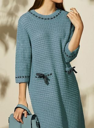 Casual Solid Pockets Tunic Shift Dress (1478560)