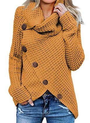 V-Neckline Solid Casual Regular Shift Sweaters (120647956)