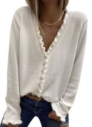 V-Neckline Solid Casual Regular Buttons Sweaters (146912975)