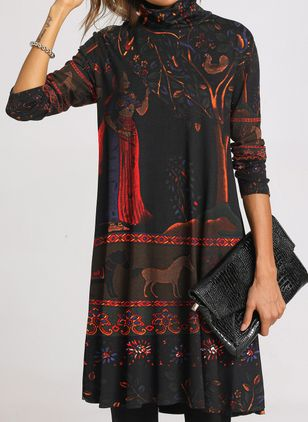 Casual Character Tunic High Neckline Shift Dress