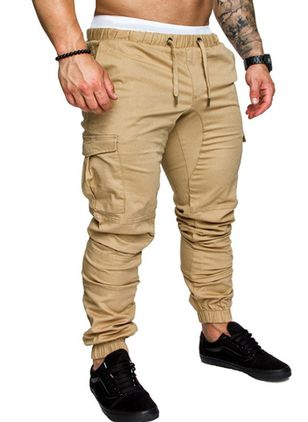 Casual Bootcut Pockets Mid Waist Cotton Blends Pants (146861365)