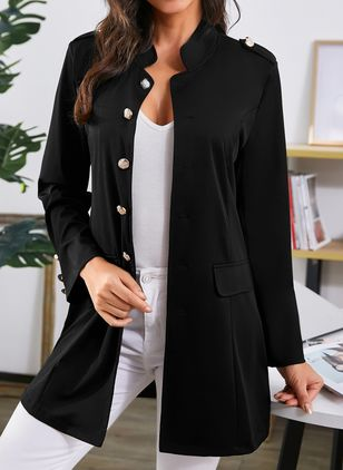 Long Sleeve Funnel Neck Buttons Pockets Blazers Coats