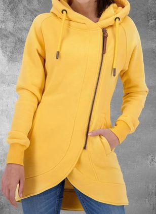 Long Sleeve Hooded Zipper Pockets Zip Up Coats (146913119)