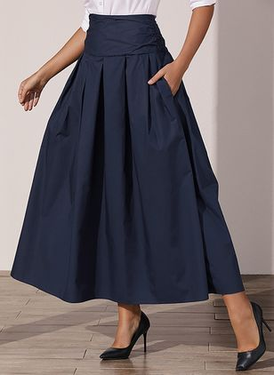 Solid Maxi Casual Pockets Skirts (4355941)