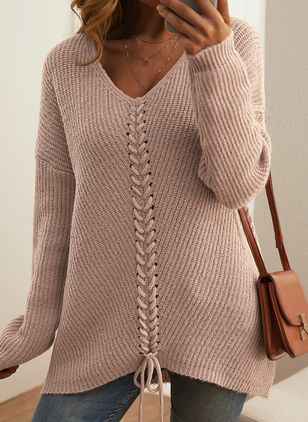 V-Neckline Solid Casual Loose Regular Shift Sweaters (146909249)