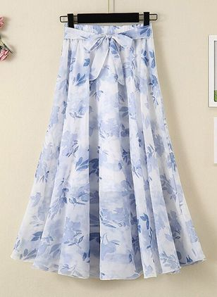 Floral Mid-Calf Casual Skirts (101987856)