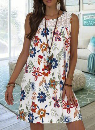 Casual Floral Tunic Round Neckline A-line Dress (105153682)