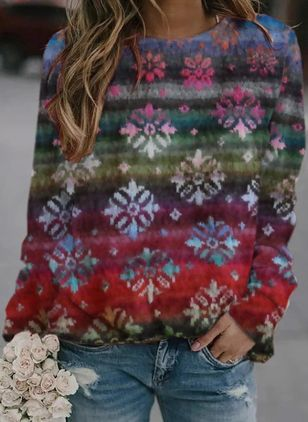 Round Neckline Floral Casual Regular Shift Sweaters (146780874)