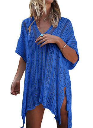 Cotton Solid Cover-Ups Swimwear (4044412)