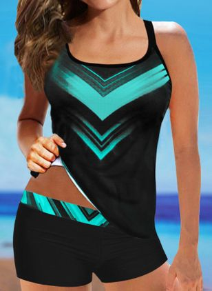 Polyester Color Block Tankinis Swimwear (100547072)