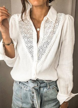 Solid Casual V-Neckline Long Sleeve Blouses (146834245)