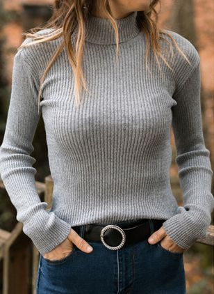 High Neckline Solid Casual Tight Regular Shift Sweaters (120647942)