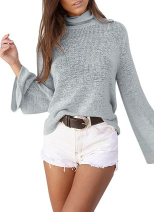 Solid Casual High Neckline Long Sleeve Blouses (4865006)