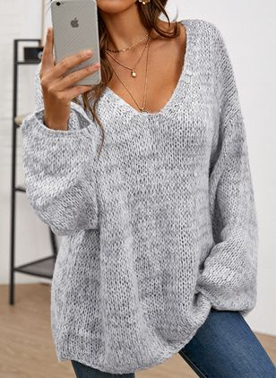 V-Neckline Solid Casual Loose Regular Shift Sweaters (146931702)
