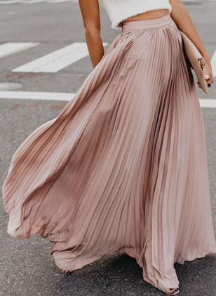 Solid Maxi Casual Skirts