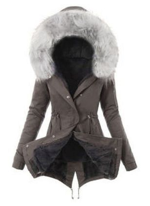 Long Sleeve Hooded Sashes Buttons Removable Fur Collar Coats (1428078)