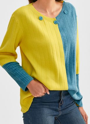 V-Neckline Color Block Casual Loose Regular Buttons Sweaters (1471517)