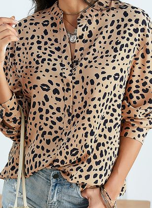 Leopard Casual Collar Long Sleeve Blouses (1451188)