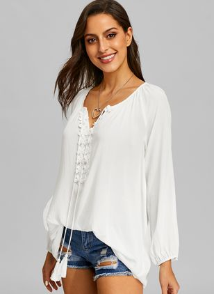 Solid V-Neckline Long Sleeve Blouses (1437835)