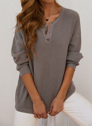 V-Neckline Solid Casual Loose Regular Buttons Sweaters (146909255)