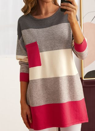 Round Neckline Color Block Casual Loose Long Pockets Sweaters (146909248)