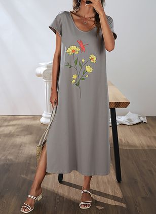 Casual Floral Tunic Round Neckline Shift Dress (4209335)