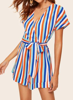 Stripe Short Sleeve Jumpsuits & Rompers (5121669)