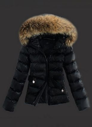 Long Sleeve Hooded Sashes Zipper Unremovable Fur Collar Padded Coats (1285152)