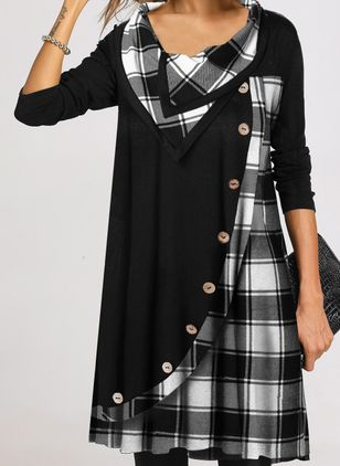 Casual Plaid Tunic Draped Neckline Shift Dress (120647996)