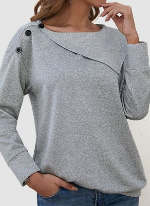 Round Neckline Solid Casual Loose Regular Buttons Sweaters (146909252)