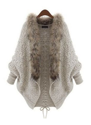 Long Sleeve V-neck Unremovable Fur Collar Sweaters Coats (146785366)