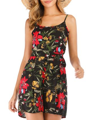Floral Sleeveless Backless Jumpsuits & Rompers (5121699)