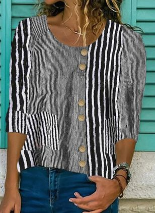 Stripe Casual Round Neckline 3/4 Sleeves Blouses (4209794)