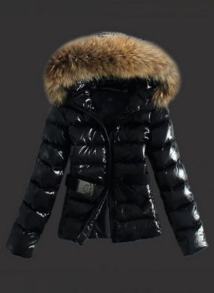 Long Sleeve Hooded Sashes Zipper Unremovable Fur Collar Padded Coats (1453201)