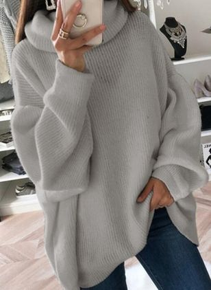 High Neckline Solid Casual Loose Long Shift Sweaters (146785329)