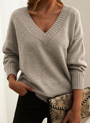 V-Neckline Solid Casual Loose Regular Shift Sweaters (146909250)