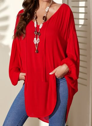 Plus Size Solid V-Neckline Casual A-line Blouses Long Sleeve Plus Blouses (4045304)
