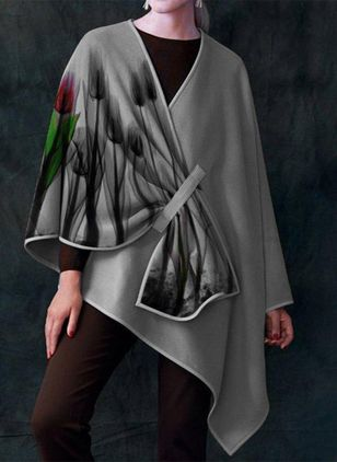 Long Sleeve V-neck Blanket Coats Capes (146632229)